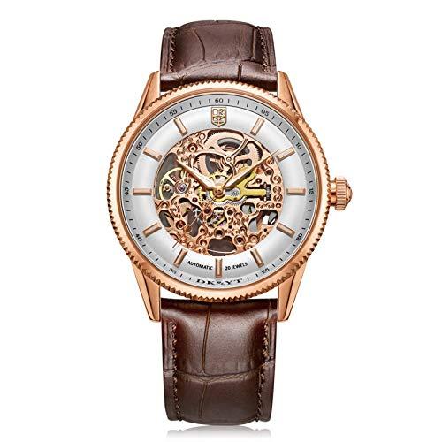 FENGJJ Reloj mecánico de Correa de Cuero, Reloj mecánico de Acero Inoxidable automático de los Hombres, Reloj de Hombre Hueco, Correa de Cuero, cómodo para Usar (Hombre y Mujer),Rose Gold
