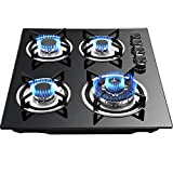 DENESTUS 23'' Black Gas Cooktop 4 Burner Built In Stoves Tempered Glass LPG NG Conversion Kits Gas Hob Panel Easy to Clean Cooker