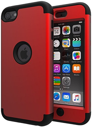 SLMY iPod Touch 5 Case,iPod Touch 6 Case,Lovely Elephant Heavy Duty High Impact Armor Case Cover Protective Case for Apple iPod Touch 5 6th Generation Red/Black