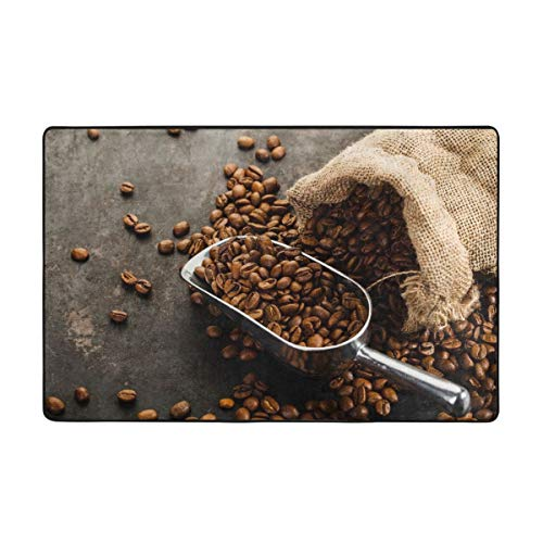 Sale!! Bath Rugs,Bath Mat,Cup of Coffee, Bag and Scoop On Old Rusty Background 29.5X17.5in