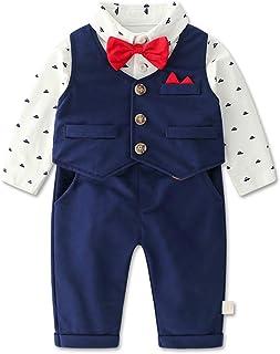 Bebé Niño Traje de Caballero Recién Nacido Vestidos de Bautizo Conjunto de Ropa Polo Body + Pajarita + Chaleco + Pantalones, 0-3 Meses