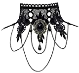 iWenSheng Halloween Costumes Jewelry for Women - Steam-punk Black Lace Choker Necklace Gothic Jewelry Accessories, Vampire Choker Necklace Costume for Teen Girls (1#)
