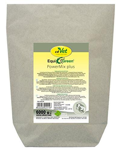 cdVet Naturprodukte EquiGreen PowerMix plus 6 kg - Pferde - Unterstützt den Aufbau der Muskulatur - Leistung durch Fütterung - Leistungssteigerung - Stoffwechselvorgänge - Sportlernahrung -