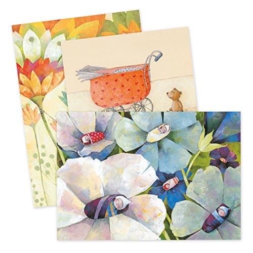 3er Set Glückwunschkarten zur Geburt von Aurélie Blanz und Helga Bansch