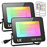 LE RGB LED Flood Light, Super Bright 50w Outdoor Color Changing Floodlight