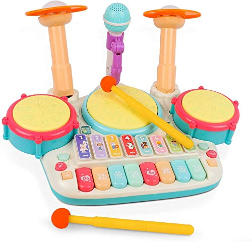 Rabing Baby Musical Instruments Toys, 5 in 1 Toddler Drum & Piano Set, Kids Electronic Piano Keyboard Xylophone Drum Toys Set with Microphone & Lights, Learning Toys Gift for Baby Infant 1-3 Years Old