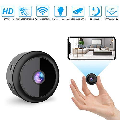 Mini WLAN Kamera Überwachungskamera Wireless Full HD 1080P mit 6 Infrarot-Licht Nachtsicht Bewegungserkennung App Fernbedienung unterstützt 128GB SD-Karte für Heim- und Bürosicherheit