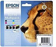 Epson T0715 Cheetah Genuine Multipack, 4-colours Ink Cartridges, DURABrite Ultra Ink, Amazon Dash Re...