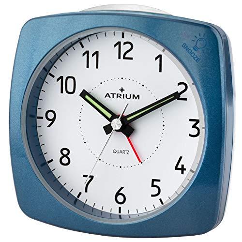 Atrium A251-5 - Sveglia analogica, senza ticchettio, con luce e snooze