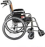 HONYGE LXGANG Silla de ruedas de aleación de aluminio plegable portátil portátil antiguo carrito de viaje manual (color: A, tamaño: 88 x 66 cm)