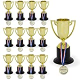 KIDSTHRILL Bulk Pack of Trophy and Awards for Kids   12 Piece Set Plastic Golden Cup Trophies l Great for Party Favors, Prizes, Sport Events