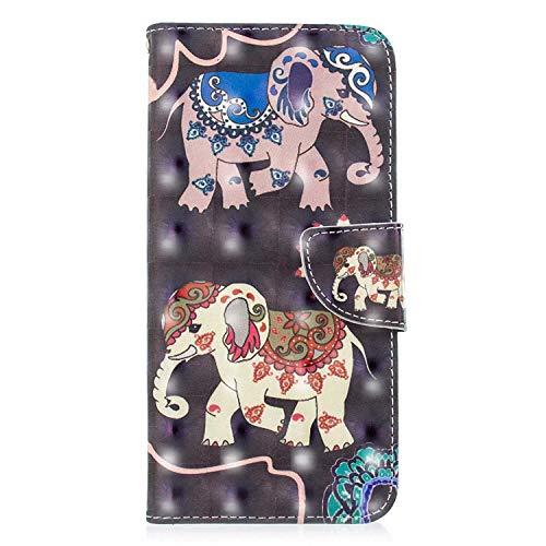 Galaxy J4 Plus 2018 Brieftasche Hülle, SONWO Schlanke Flip PU Leder Flip Schutzhülle Hülle für Samsung Galaxy J4 Plus 2018 mit Stand und Magnetverschluss, Elefant