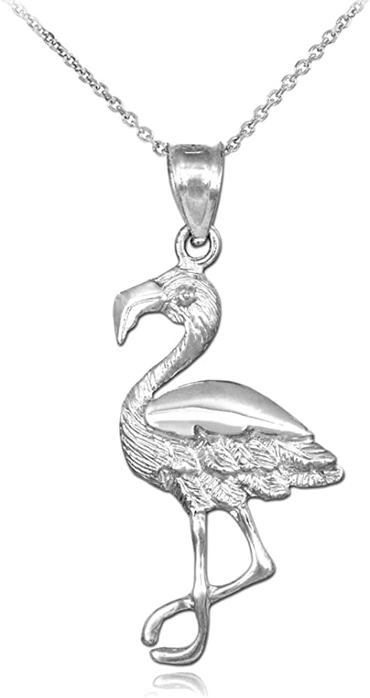 925 Sterling Silver Flamingo Charm with Necklace