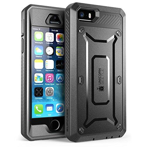 SUPCASE Apple iPhone SE (2016), 5S , 5 Hülle Unicorn Beetle PRO Handyhülle Outdoor Case Schutzhülle mit eingebautem Bildschirmschutz & Gürtelclip, Schwarz