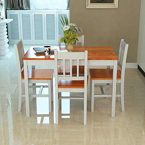 Solid Wood Pine Dining Table Set with 4pcs I Shape Chairs set Kitchen Room Furniture Set (Brown+Grey)