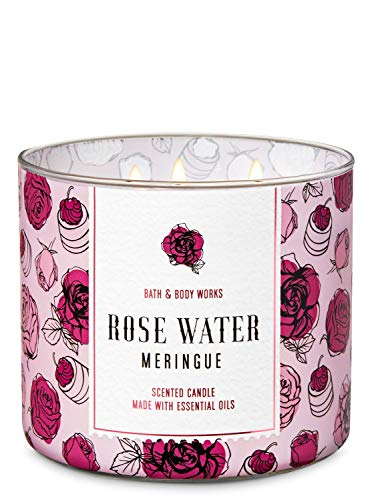 White Barn Bath and Body Works Rose Water Meringue 3 Wick Scented Candle 14.5 Ounce