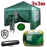 Yiyai 9m² Pop Up Pavillon mit 4 Seiten, 3x3m Voll wasserdicht & UV-Block pulverbeschichteter Stahlrahmen Klappbarer Garten-Markise mit Tragetasche, Grün