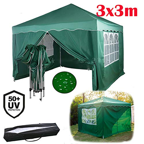 Yiyai 3x3m Pop Up Gazebo Tent Heavy Duty Canopy Marquee Anti-UV Commercial Party Tent with 4 Removable Side Walls, For BBQ, Beer Party, Celebration, Green