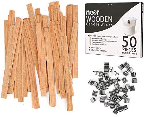 50 Pieces Wooden Candle Wicks with Iron Stand,Smokeless Eco Friendly and Natural Wood Wicks Candle Cores for DIY Candle Making Craft