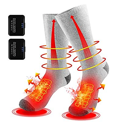 Heated Socks for Men/Women - Upgraded Rechargeable Electric Socks, Unisex Battery Powered Comfortable Thermo-Socks with 3 Heating Settings for Outdoor Riding Camping Hiking Motorcycle Skiing