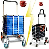 Foldable Jumbo Shopping Cart Portable| Shopping Carts for Groceries Lightweight Stair Climbing Cart with Rolling Swivel Wheels and Removable Canvas Removable Bag for Mom,Dad,Grandma