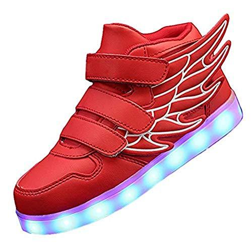 Kids'LED Mode Schuhe Light up Turnschuh-Trainer mit Flügeln 7 Farben Blinklicht für Jungen-Mädchen-Geschenk-Hoch-Spitze Turnschuhe USB-Gebühr,Rot,30