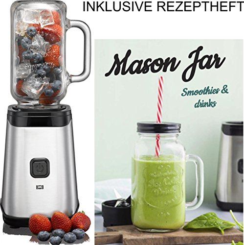 Melissa 16180118 Smoothie-Mixer Mason Jar Cocktail Maker 320 Watt Strohalm 0,50 Liter, Chrom Edelstahl