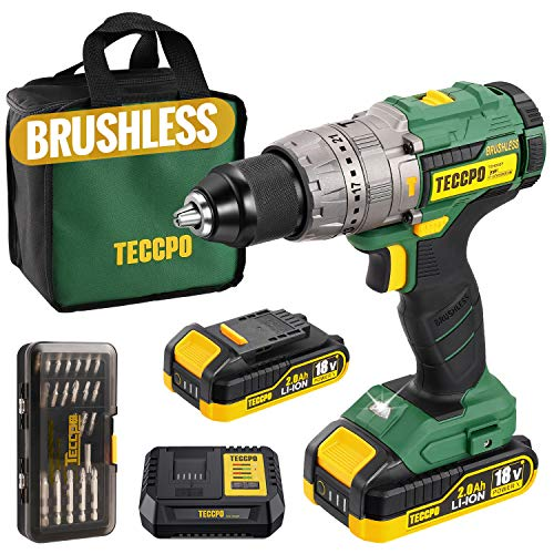 BRUSHLESS Perceuse sans Fil, TECCPO 60Nm Perceuse a Percussion 18V, 30min Rapide Chargeur 4A, 2 Batteries 2.0Ah, 35pcs Accessoires, Variable Vitesse, 13mm Mandrin autobloquant en metal