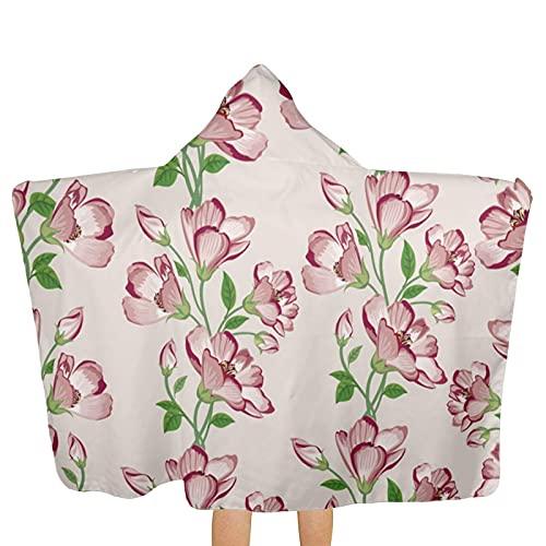 VVSADEB Flower Kids Poncho con capucha, toallas de baño ultra suaves, extra grandes, de secado rápido, con capucha para niños y niñas (tamaño único)