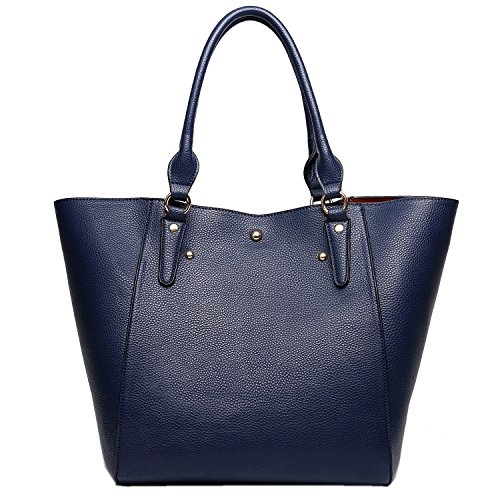 PB-SOAR Damen Elegante Tasche Henkeltasche Schultertasche Schulterbeutel Set 2 Stücke Shopper Ledertasche Handtasche Geldbörse (Dunkel Blau)