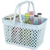 Anyoifax Portable Shower Caddy Tote, Plastic Storage Basket with Handle Bath Organizer Bin for Bathroom, Pantry, Kitchen, College Dorm, Blue
