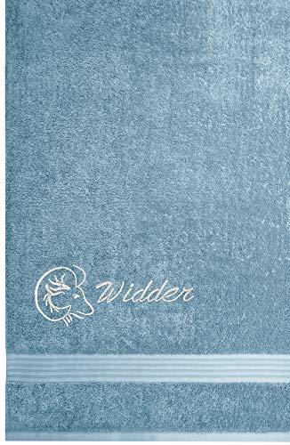 Lashuma Linz Frottiertuch mit Sternzeichen Widder Stickerei, Größe 70 x 140 cm, Handtuch Farbe Tauben Blau