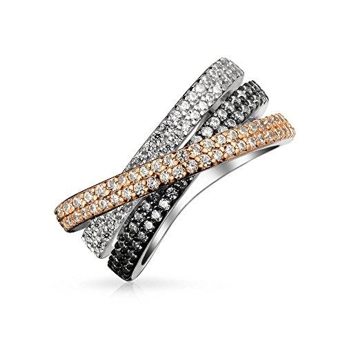 Bling Jewelry Tri Color Moda Crossover Cruzado Negro Blanco Rosa Pave AAA CZ Anillo De Banda para Mujer Sliver De Latón Estañado