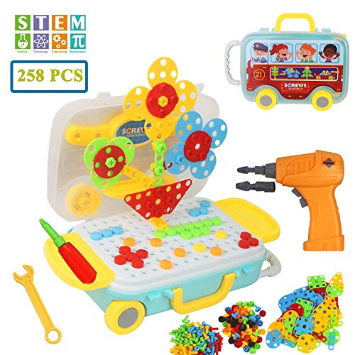 Mango Town Take Apart Toy Assembly Construction Toys 3D Puzzle Drill DIY Play Toy Set Building Blocks with Storage Trunk Luggage Scooter For Children Kids Boys Girls 3 4 5 6 years, 258 Pieces