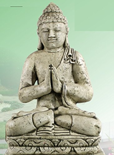 DEGARDEN AnaParra Figura Buda Grande Placer para el jardín Decorativa 83cm. hormigón Color Ceniza