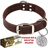ADITYNA Leather Dog Collar for Medium and Large Dogs - Heavy Duty Wide Dog Collars with Durable Metal Hardware & Double D-Ring - Unique Name Tag Included (M: 1,2' Width / 13'- 20' Length, Brown)