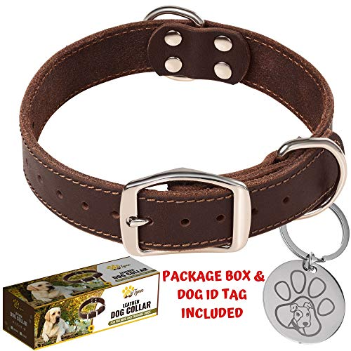 """ADITYNA Leather Dog Collar for Medium and Large Dogs - Heavy Duty Wide Dog Collars with Durable Metal Hardware & Double D-Ring - Unique Name Tag Included (M: 1,2"""" Width / 13""""- 20"""" Length, Brown)"""