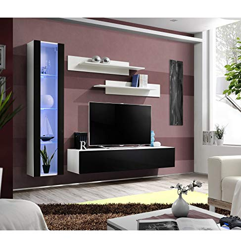 ASM Banc TV avec LED - 4 éléments - Noir et Blanc
