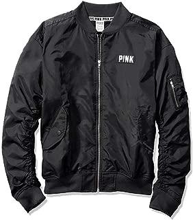 Victoria's Secret Pink Flight Jacket Coat Bomber Full Zip Black Large NWT