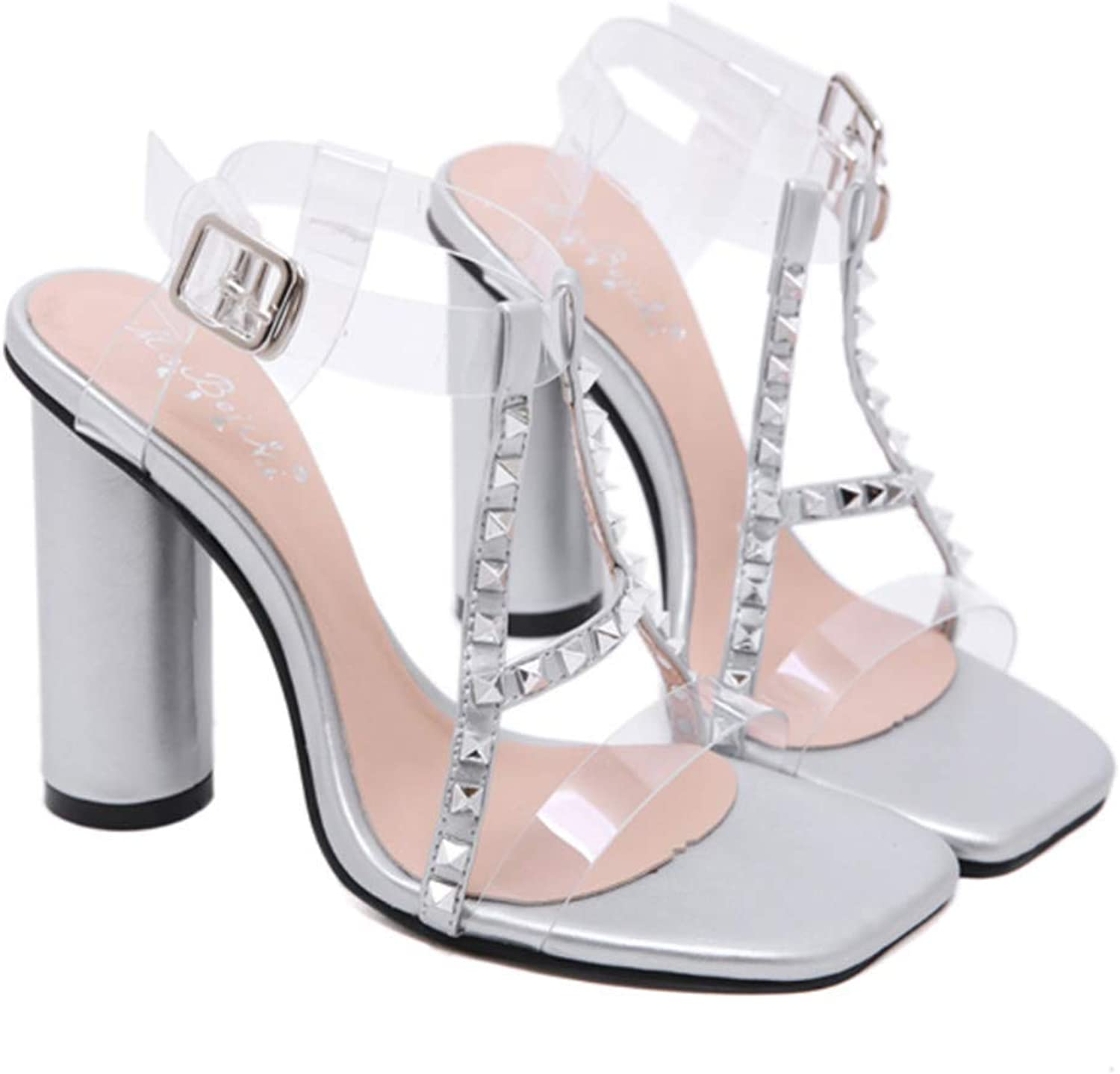 Shiney Women's Slim White Transparent PVC Thick with Studded High Heel Sandals