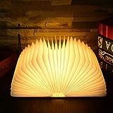 Micv ナイトライト ベッドサイドランプ 木製折りたたみ テーブルランプ 12.3*9CM 雰囲気作り USB充電式 (ブラウン(黄光)