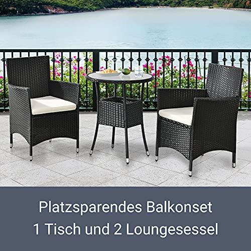 ArtLife Polyrattan Balkon Set Bayamo 2 Personen – Tisch mit Glasplatte & 2 Stühlen – Wetterfeste Balkonmöbel – Auflagen waschbar – schwarz – Creme - 4