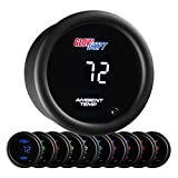 GlowShift 10 Color Digital Air Temperature Gauge Kit - Reads Outside Air Temp from -40 - 200 Degrees F - Includes Sensor - Multi-Color LED Display - Tinted Lens - 2-1/16' (52mm)