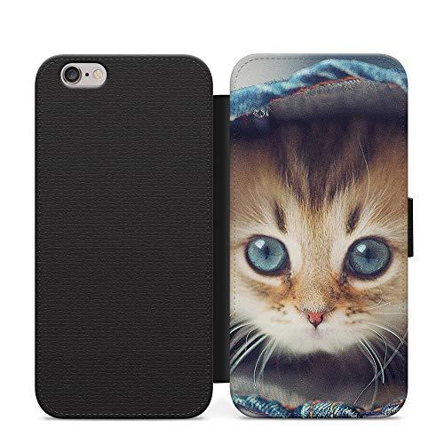 Cubierta de la caja del teléfono del tirón del cuero de la cartera del gato peludo, linda de las caras de peluche para el iPhone 12 Mini