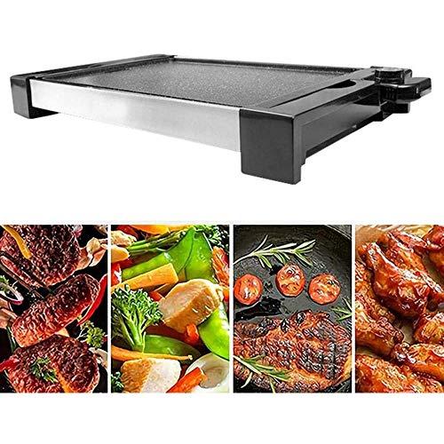 Hexiao Plancha eléctrica, Teppanyaki Grill, Gran Placa de cocción, Temperatura Ajustable, Cubierta...
