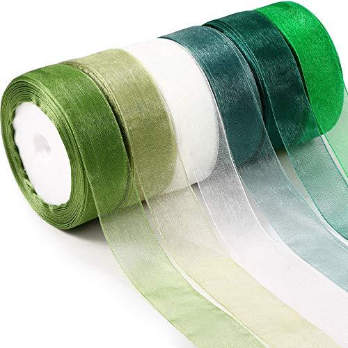6 Rolls Sheer Chiffon Ribbon Organza Satin Ribbon Transparent Chiffon Ribbon for Wrapping Decorating Valentine's Day Wedding Birthday Bouquet Garland (25 Yard Each Roll, Green Series)
