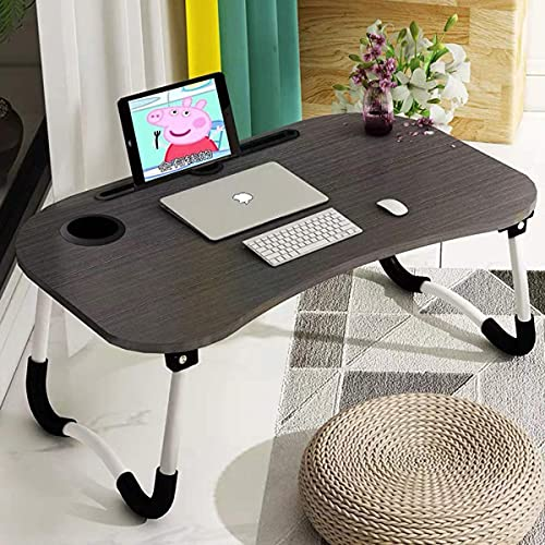 Barbieya Notebook Table Dorm Desk, Dormitory with Small Desk, Bed with Laptop Table, Folding Table, Breakfast Tray Reading Stand Desk with Cup Slot (60 ¡Á 40cm)