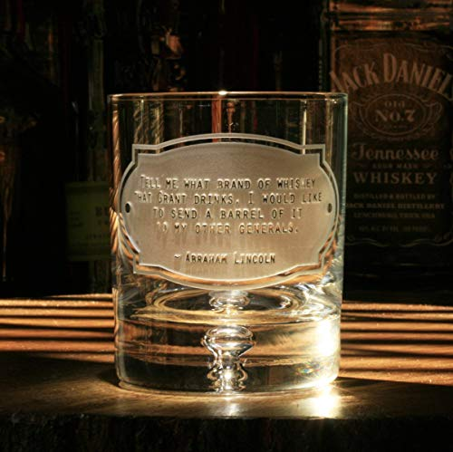 Abraham Lincoln Whiskey Legend Quote Glasses, Set of 4