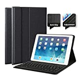 feelkaeu Custodia con Tastiera Bluetooth per iPad 2018 iPad 2017 iPad PRO 9.7'(2016) iPad Air 2013 iPad Air 2014,Custodia Protettiva iPad con Tastiera Wireless Italiana QWERTY Nero