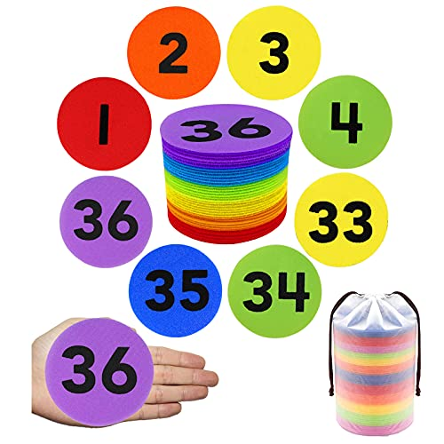 36 Pack Carpet Marker Spot with Numbers, Artdly 1-36 Sitting Classroom Floor Mark Spots in 6 Colors 4'' Circles Markers for Teachers Students, Kindergarten, Elementary Teachers Kids Educate